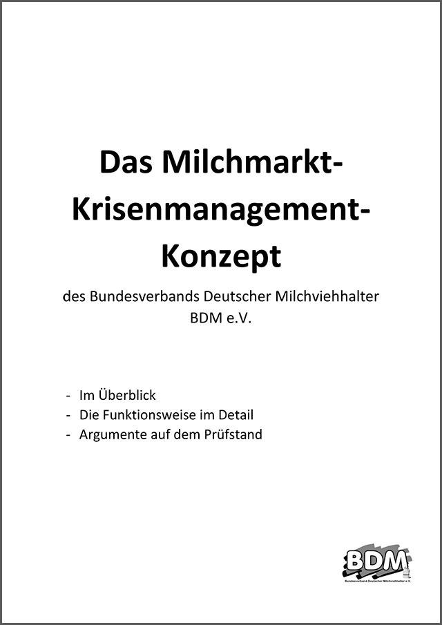 Titelbild des Milchmarkt-Krisenmanagement-Konzeptes